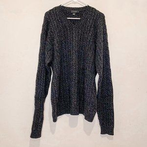 J. Crew Men's Charcoal Gray Lambswool Cable Knit V- Neck  Sweater XLT XL Tall